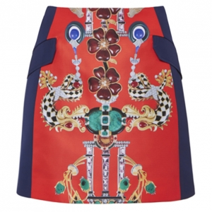 Mary Katrantzou Kalion Red and Navy Printed Skirt M