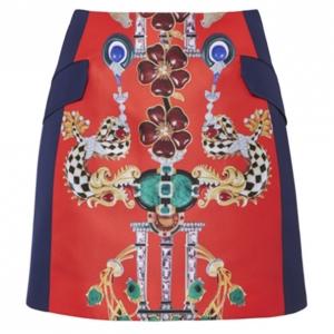 Mary Katrantzou Kalion Red and Navy Printed Skirt S