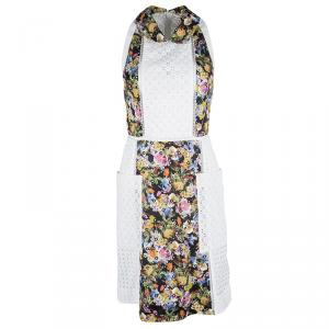 Mary Katrantzou White Ambile Printed Eyelet Lace Dress S