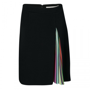 Mary Katrantzou Black Rainbow Striped Pleated Panel Insert Nema Skirt M