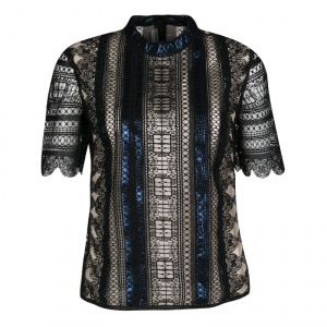 Mary Katrantzou Black Chestripe Lace Metallic Trim Short Sleeve Top M