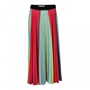 Mary Katrantzou Multicolor Rainbow Striped Plisse Midi Skirt M