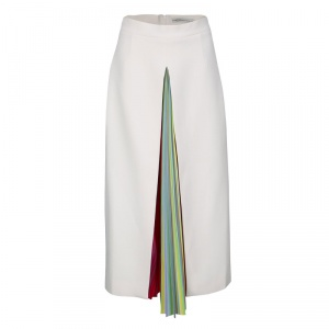 Mary Katrantzou Multicolor Rainbow Striped Plisse Pleat Detail Rugo Midi Skirt M