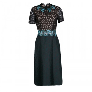 Mary Katrantzou Lamur Paisley Lace and Jacquard Midi Dress M