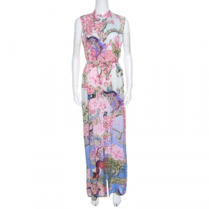 Mary Katrantzou Multicolor Printed Silk Sleeveless Belted Dress S