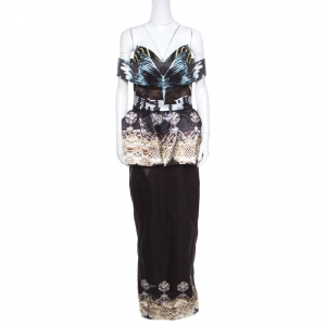 Mary Katrantzou Nebraska Printed Silk Satin Off Shoulder Peplum Maxi Dress M