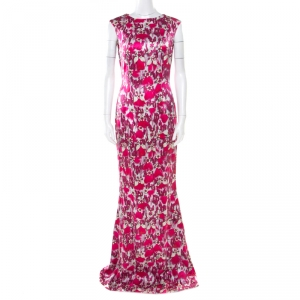 Mary Katrantzou Fuchsia Pink Bejeweled Feather Printed Silk Satin Evening Gown M used