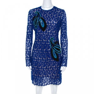 Mary Katrantzou Cobalt Blue Paisley Macrame Lace Overlay Geri Shift Dress M - used