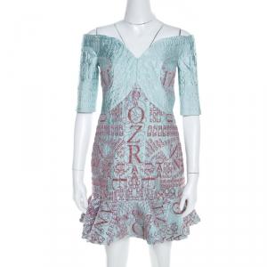 Mary Katrantzou Mint Blue Jacquard and Glitter De Beau Cocktail Dress M - used