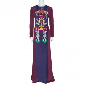 Mary Katrantzou Burgundy Sentinel Clocktopia Print Silk Maxi Dress M