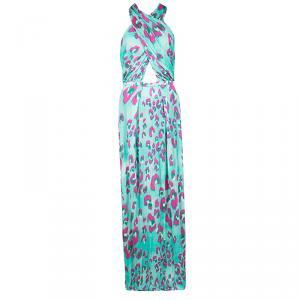 Matthew Williamson Electro Leopard Print Cutout Detail Jersey Maxi Dress L