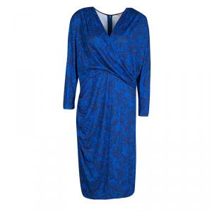 Matthew Williamson Navy Blue Draped Jersey Botanical Dress L