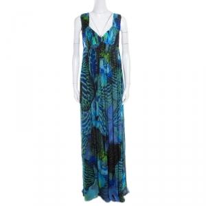 Matthew Williamson Blue Abstract  Lotus Printed Silk Chiffon Sleeveless Maxi Dress L
