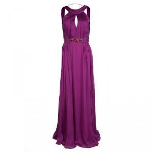 Matthew Williamson Pink Pleated Silk Chiffon Embellished Backless Gown M