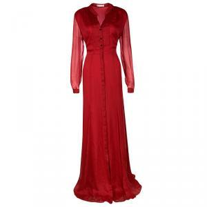 Matthew Williamson Red Winter Chiffon Godet Maxi Shirt Dress L