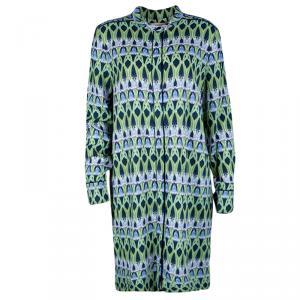 Matthew Williamson Multicolor Bluebell Trellis Print Long Sleeve Shirt Dress XL