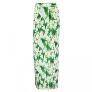 Matthew Williamson SS'12 Multicolor Floral Printed Silk Wrap Maxi Skirt M