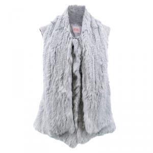 Matthew Williamson Grey Fur & Velvet Sleeveless Vest M
