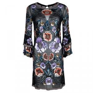 Matthew Williamson Black Silk Floral Pattern Sequin Embellished Dress S