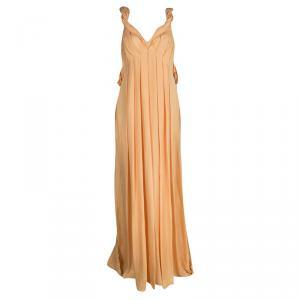 Matthew Williamson Orange Draped Back Detail Silk Maxi Dress M