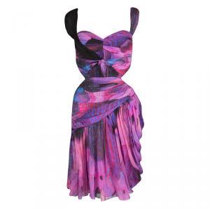 Mathew Williamson Multicolor Ruched Silk Cutout Waist Detail Sleeveless Dress M