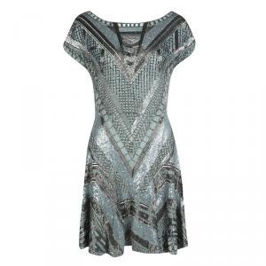 Matthew Williamson Grey Embellished Silk Cap Sleeve Dress M - used