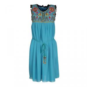 Matthew Williamson Escape Blue Floral Embroidered Silk Pom Pom Trim Sleeveless Dress M - used