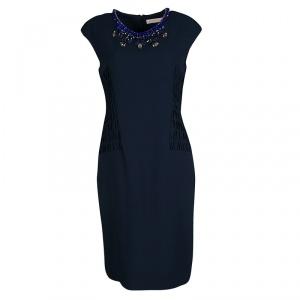 Matthew Williamson Navy Blue Smocked Waist Detail Embellished Neck Sleeveless Dress M - used
