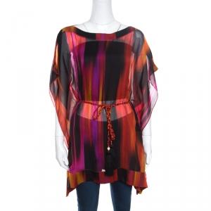 Matthew Williamson Escape Multicolor Printed Sheer Silk Belted Kaftan Tunic S