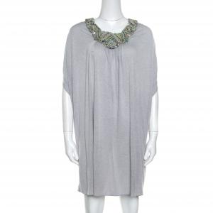 Matthew Williamson Grey Melange Knit Embellished Neckline Detail Boxy Dress M