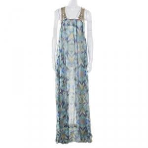 Matthew Williamson Escape Green Sheer Silk Printed Embellished Racerback Dress M