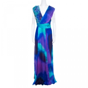 Matthew Williamson Vivid Ocean Print Embellished Silk Gown L