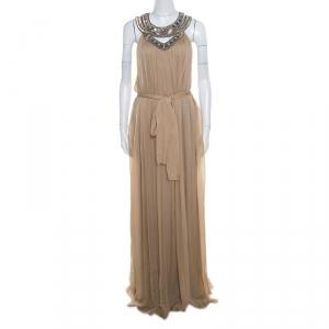 Matthew Williamson Beige Embellished Cutout Neck Detail Belted Gown L