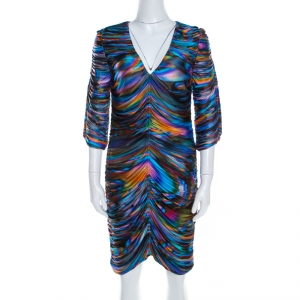 Matthew Williamson Multicolor Printed Ruched Jersey Long Sleeve Dress M - used