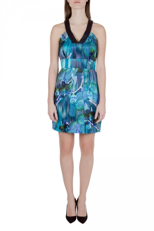 Matthew Williamson Blue Orchid and Stripe Print Silk Sleeveless Dress M - used