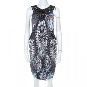 Mathew Williamson Black Geometric Print Silk Embellished Draped Cowl Dress M