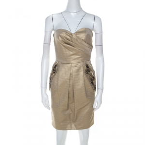 Matthew Williamson Gold Jacquard Corseted Bodice Embellished Dress S - used