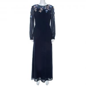 Matthew Williamson Navy Blue Silk Embellished Floral Applique Maxi Dress M - used