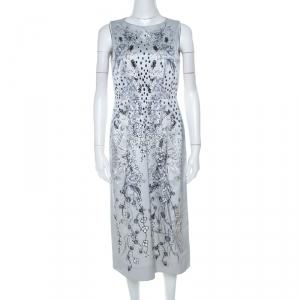 Matthew Williamson Grey Floral Print Cotton Blend Sleeveless Dress M - used
