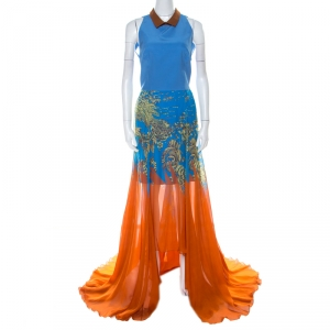 Matthew Williamson Blue & Orange Printed Chiffon Dress With Organza Top L - used