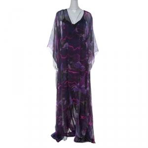 Matthew Williamson Purple Printed Silk Long Folded Hemline Kaftan Dress M - used