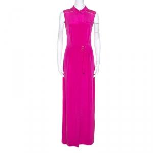 Matthew Williamson Pink Silk Maxi Shirt Dress M - used