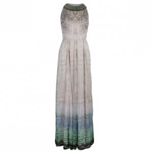 Matthew Williamson Beaded Neck Multi Print Gown M
