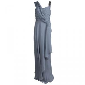 Matthew Williamson Grey Silk Draped Asymmetric Embellished Gown M used