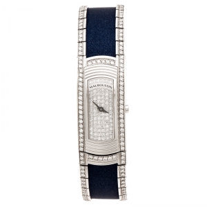 Mauboussin Diamond Pave Dial 18K White Gold Diamonds Lady M Mini R68800 Women's Wristwatch 17 mm