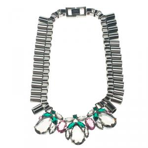 Mawi Teardrop Crystal Gunmetal Tube Necklace