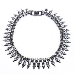 Mawi Metal Crystal Gunmetal Claw Set Spike Necklace