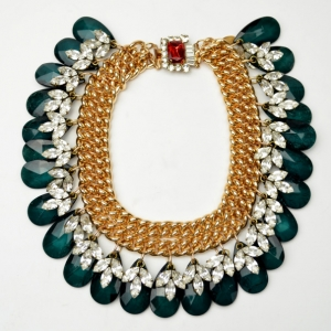 Mawi Double Chain Necklace with Crystal Leaf and Teardrops