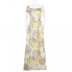 Max Mara Multicolor Floral Lurex Embossed Jacquard Danzica Maxi Dress M