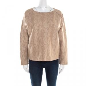 Max Mara Camel Brown Wool Floral Lace Raglan Sleeve Liriche Top L